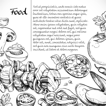 Background for your text with doodles on the subject of food - kebab, meat,seafood