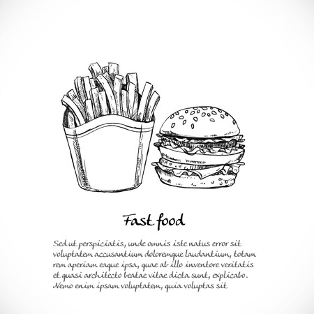 quick drawing: Background for your text with doodles on the theme of fast food - french fries and a large hamburger
