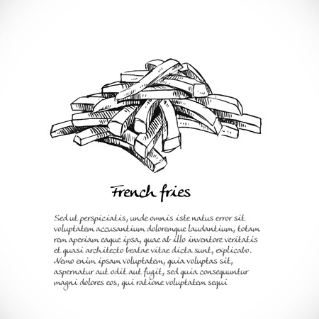 Background for your text with doodles on the theme of fast food - French fries