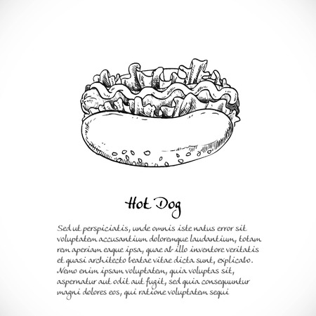 mouth watering: Background for your text with doodles on the theme of fast food - hotdog