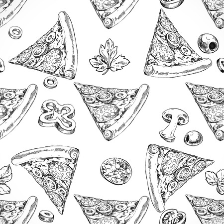 italian cuisine: Seamless pattern of slices of pizza with sausage doodle. Italian cuisine