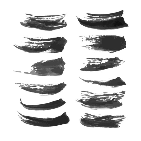 density: Set of abstract realistic black strokes of different density 1 Illustration