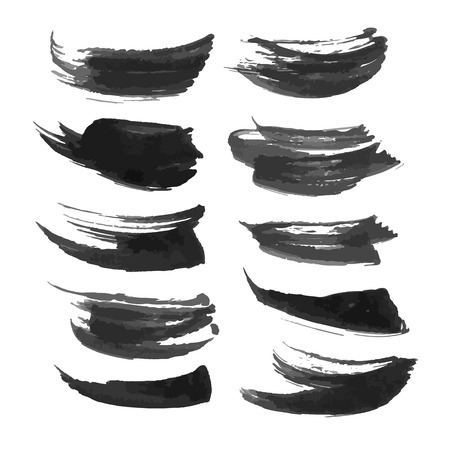 density: Set of abstract realistic black strokes of different density 2