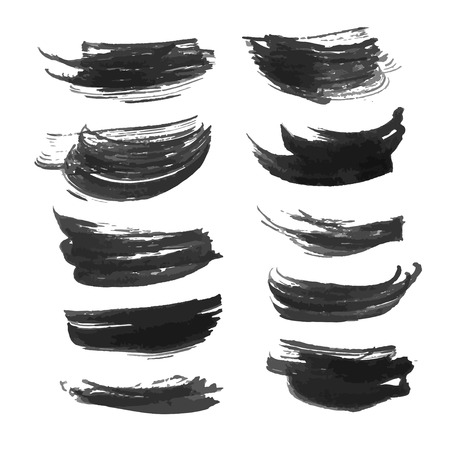 density: Set of abstract realistic black strokes of different density Illustration