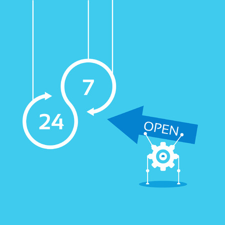 24 hours: open 24 hours 7 days vector background Illustration