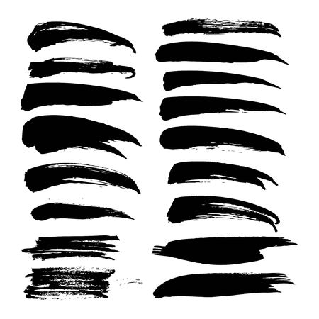 Black ink big strokes set on white background