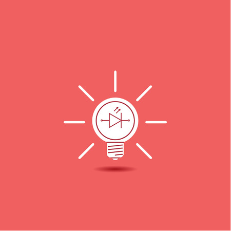 light emitting diode: led lamp - vector icon on a red background