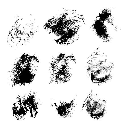 Abstract texture smears of black paint spots on white paper Ilustração