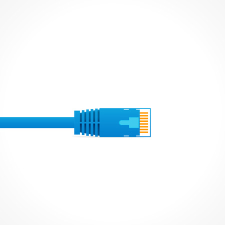 ethernet cable: Blue patch cord isolated over white background