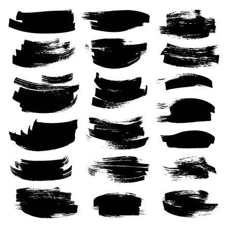 Black textured strokes painted fla paint brush on white backckground