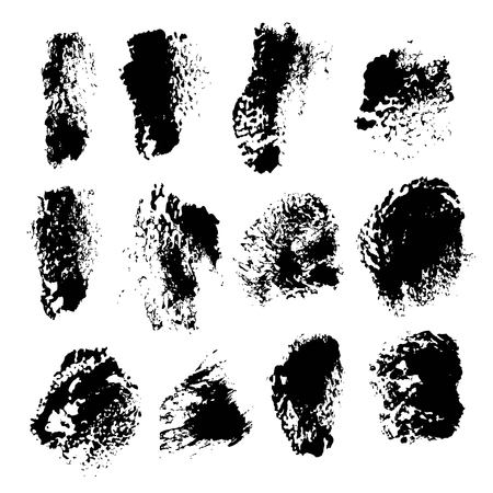 Texture smears of black dry paint spots on white paper 1 Ilustração