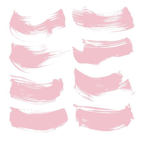 Pink texture thick brush strokes set isolated on a white background