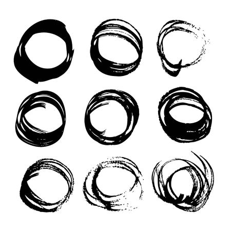Abstract black ink circles set 2 on white background Ilustração