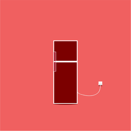 refrigerator icon isolated on red background