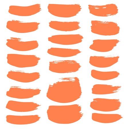 Large set of vector brush strokes of orange soft brush isolated on white background 1