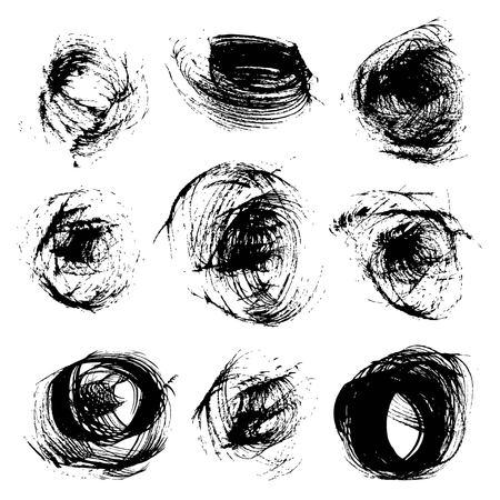 Round strokes dry brush thick black paint