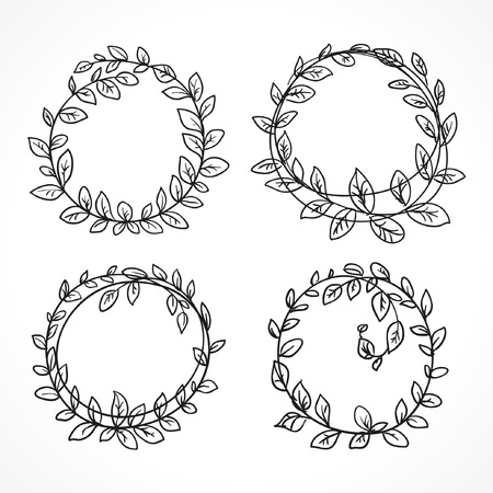wreath vector set of black round sketch line art  イラスト・ベクター素材
