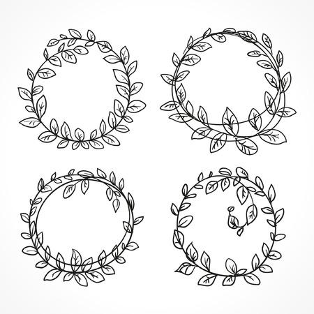 wreath vector set of black round sketch line art Ilustração