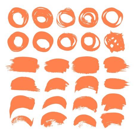 Set of orange vector brush strokes and circles isolated on white background Ilustração