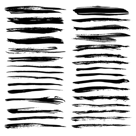 Abstract textured long strokes painted black on white  イラスト・ベクター素材