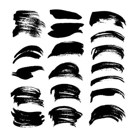 Black ink strokes big set on white background  イラスト・ベクター素材