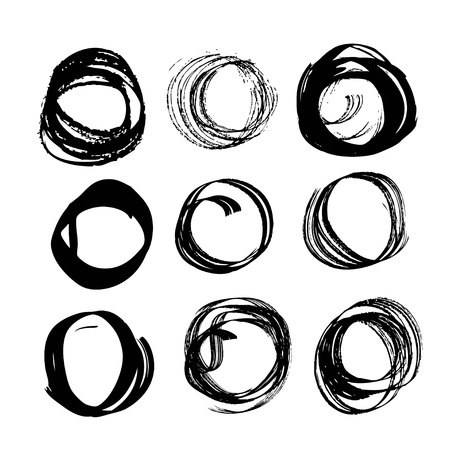 mess: Abstract black ink circles set 3 on white background