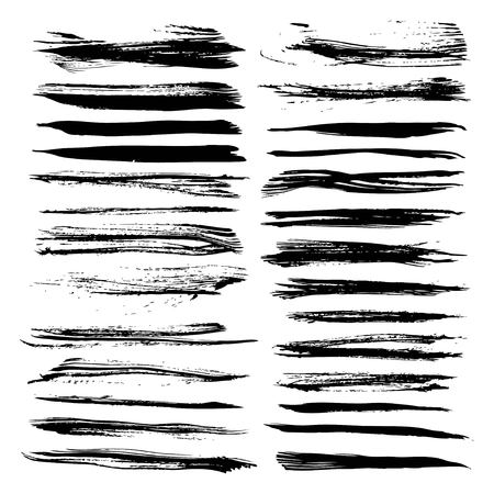 Abstract textured long strokes painted black on white 1  イラスト・ベクター素材