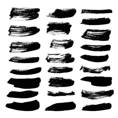 A very big set of black ink strokes on white background  イラスト・ベクター素材