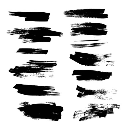 Black abstract ink strokes set on white background