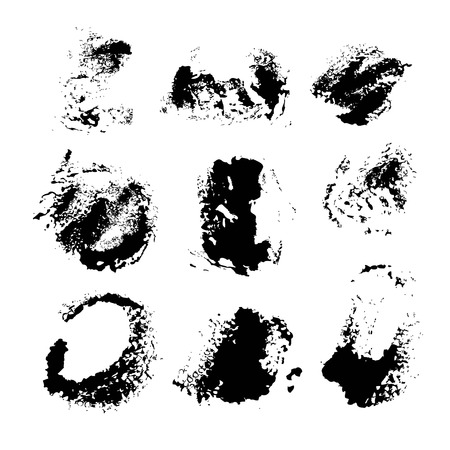 Texture smears of black paint spots set on white paper 1  イラスト・ベクター素材