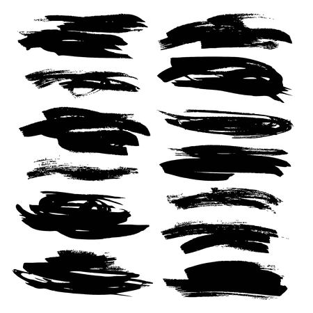 Abstract black strokes painted flat paint brush on white backckground