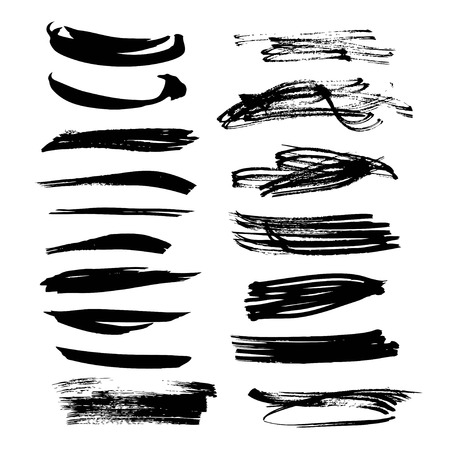 Abstract black ink strokes set on white background