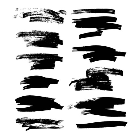 Abstract ink strokes set on white background
