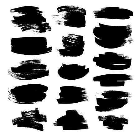 Black strokes painted fla paint brush on white backckground Ilustração