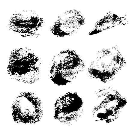 smears: Abstract texture smears of black paint spots on white paper 1