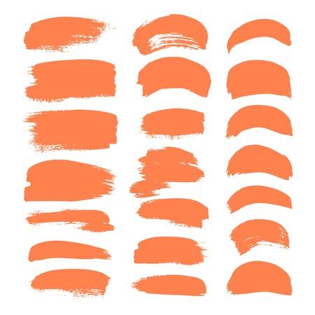 Set of orange vector brush strokes isolated on white background
