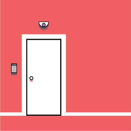Closed White Door on Red Wall  イラスト・ベクター素材
