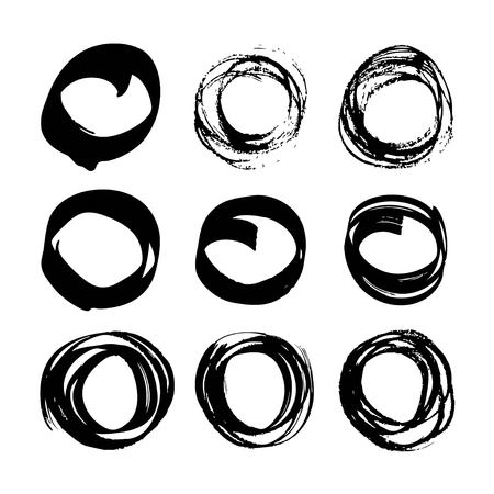 Abstract black ink circles set on white background Ilustração