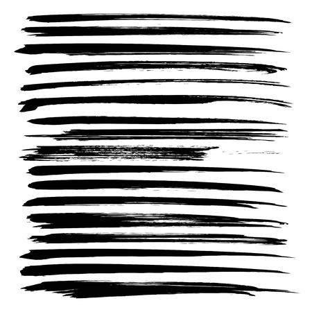Black ink long strokes big set on white background  イラスト・ベクター素材