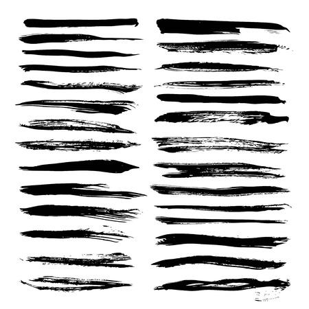 Textured long strokes big set on white backgriund Ilustração