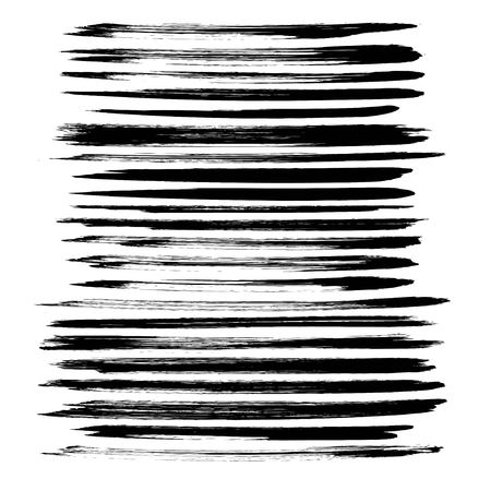 Abstract black ink long strokes big set on white background