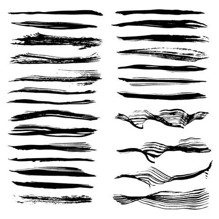 Black textured long strokes big set on white backgriund