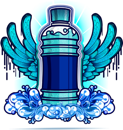 artificial wing: Water bottle with blue wings