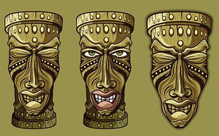 cigar shape: TIKI wooden masks with human features