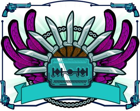 organized crime: Razor Knife pistols Illustration