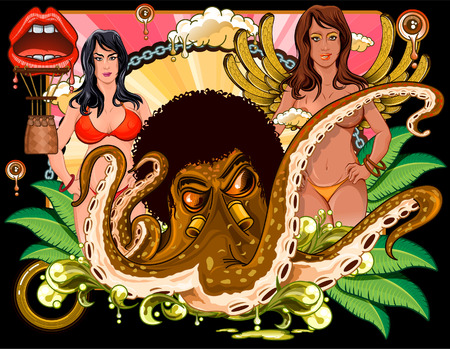 cephalopod: Octopus with afro and girls at back