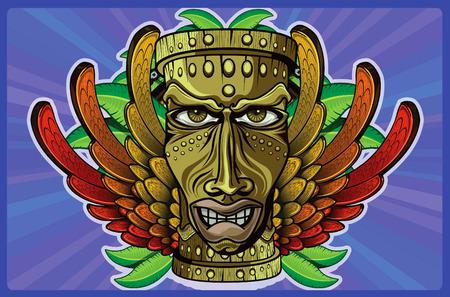 jamaican: TIKI m�scaras de madera con rasgos humanos alas en los colores de la bandera de Jamaica, algunas hojas y el fondo p�rpura detr�s de la cadena con un c�rculo