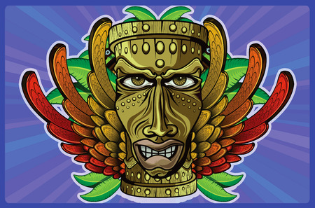 jamaican flag: TIKI wooden masks with human features wings in the colors of the Jamaican flag, some leaves and purple background behind chain with a circle
