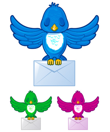 Bird flying with envelope mail in three different colors