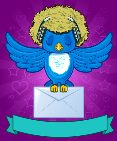 Bird with hair, headphones and mail